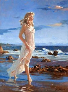 Enjoy our large collection of artwork by Richard Johnson. View Original Paintings and a full collection of Limited Edition Giclees including Ember's Glow & Golden Dreams! Woman Painting, Figure Painting, Painting & Drawing, Painted Ladies, Art Institute Of Chicago, Jolie Photo, Art Abstrait, Fine Art, Beach Art