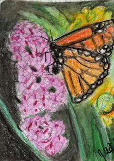 Giclee ACEO 2.5x3.5 folk art print COUNTRY WILDFLOWERS flowers butterfly bee DC