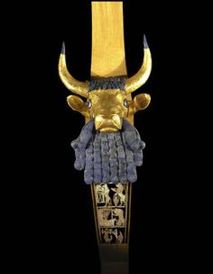 Sumerian Bull Lyre, 713BC, Iraq     The Sumerians, including the city-state Ur, created some of the most exquisite art of their time, often for religious and funerary purposes. The Sumerian Bull Lyre is part of a group of objects discovered in the late 1920s by archaeologist C. Leonard Woolley, and is composed of gold, silver, lapis lazuli, shell, bitumen and wood. Archeological evidence indicates that lyres were played by both men and women.