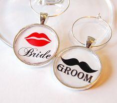 Fun Bride & Groom Wine Charms. $7.50, via Etsy.