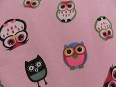Image of Winter Owl Toss on Cotton-Lycra PINK (Per Yard)