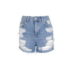 Topshop Moto Longline Rip Mom Shorts (905 HNL) ❤ liked on Polyvore featuring shorts, mid stone, distressed jean shorts, distressed high waisted shorts, ripped jean shorts, jean shorts and ripped shorts