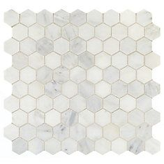 Daltile Addison Place 11 x 12 x 8 mm Hexagon Stone Blend Mosaic Tile in White Lux Diy Tile Backsplash, Herringbone Backsplash, Travertine Backsplash, Granite Countertops Colors, Granite Colors, Kitchen Countertops, Hexagon Mosaic Tile, Stone Mosaic, Cuisines Design