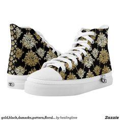gold,black,damasks,pattern,floral,vintage,victoria printed shoes