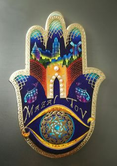 #mazaltov #judaica #hamsa Hamsa Art, Arte Judaica, Classroom Art Projects, Mosaic Pictures, Jewish Art, Hand Of Fatima, Star Of David, Torah, Evil Eye