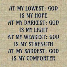 GOD IS my...HOPE...LIGHT...STRENGTH...COMFORTER!
