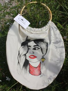 Handpainted bag Illustrated lining by VasilikiHandpaint on Etsy