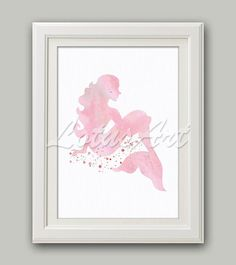 Pink Mermaid Watercolor Print Mermaid Wall Art Nursery Princess Art Nursery Wall Art Mermaid Poster Kids Room Wall Decor Mermaid Birthday