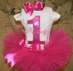 First birthday Princess tutu outfit Hot Pink Sparkle Themed Custom Boutique monogrammed tutu outfit 1st,2nd,3rd,4th,5th birthday tutu se on Etsy, $40.50 Want!!!