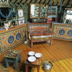picture inside of yurts homes | Inside yurt - traditional furniture, Mongolia (photo/image) - RGS ...