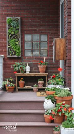 Summer Porch Decorating Ideas / Terra Cotta Pot, Potting Bench, Vertical Planter, and more! | inspiredbycharm.com