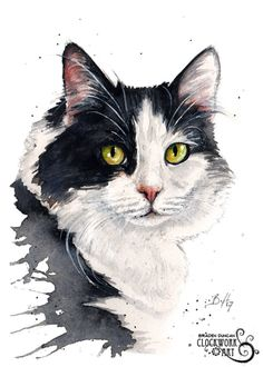 Original Custom Watercolour Pet Portrait (Face Only) - Cats and other felines Watercolor Cat, Watercolor Animals, Watercolor Paintings, Portrait Watercolour, Animal Paintings, Animal Drawings, Cat Sketch, Photo Chat, Cat Drawing