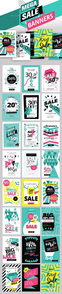 Mega Sale Banners — Photoshop PSD #abstract #mobile • Download ➝ https://graphicriver.net/item/mega-sale-banners/18931919?ref=pxcr