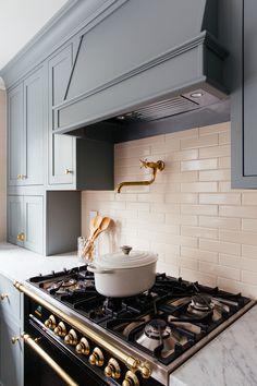 One Room Challenge - Fall 2019 - The Kitchen Reveal - Erin Kestenbaum Kitchen Hood Design, Kitchen Vent Hood, Kitchen Reno, Kitchen Backsplash, New Kitchen, Kitchen Dining, Kitchen Remodel, Kitchen And Bath Design, Kitchen Board