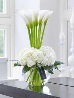 luxury cars - Luxury Calla Lily & Hydrangea Vase This contemporary designer arrangement is right on trend We've chosen ultrafashionable calla lilies in pristine white and created a surround of sumptuous hydrangea blooms with their richly textured flowers Flower Centerpieces, Flower Vases, Flower Decorations, Vase For Flowers, Lilies Flowers, Order Flowers, Purple Flowers, Spring Flowers, Wedding Centerpieces