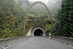 Bridge and tunnel to Miho Museum in Japan, all designed by I.M. Pei.
