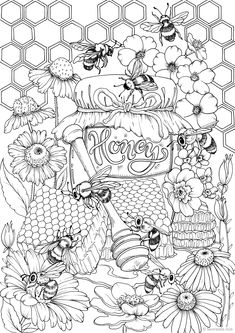 Printable Adult Coloring Pages, Cute Coloring Pages, Coloring Sheets, Coloring Books, Doodle Coloring, Bee Art, Colorful Drawings, Christmas Colors, Illustration