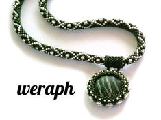 Bead crochet rope necklace with beaded pendant