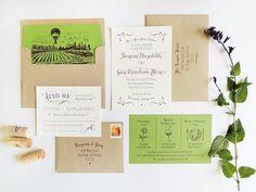 Brynne + Guy's Modern Vineyard Wedding Invitations | Design + Digital Printing + Photo: Harken Press | Letterpress Printing: Quality Letterpress
