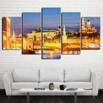 Moscow Wall Art, Moscow Canvas Art, Moscow at Night 5 Piece Canvas Print, Moscow City Canvas Art Framed