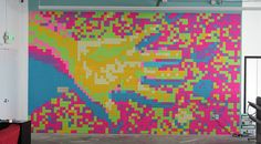wall art made with Post-it notes
