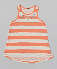 Fusion Coral & White Heather Stripe Jewel Tank by Poof! #zulily #zulilyfinds