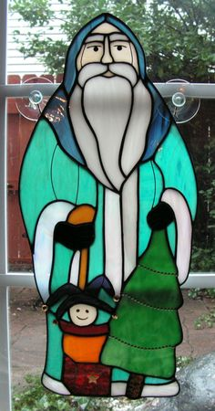 Yugoslavia Santa in Stained Glass by SerendipityGlassWrks on Etsy