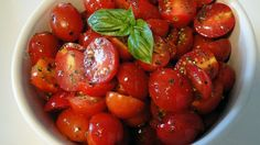 """""""Marinated Cherry Tomato Salad"""" is a hit - it uses Oregano and Basil, plus Cider Vinegar ♥♥  USE up yr Garden tomatoes"""