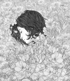 -Ello - Displate Poster Love and Beauty illustration elenagarnu The suspicion. Mode Beautiful Illustrations of Young Ladies in Flowers Art And Illustration, Illustrations And Posters, Daddy's Little Angel, Desenho Tattoo, Ink Art, Art Inspo, Art Reference, Art Drawings, Anime Art