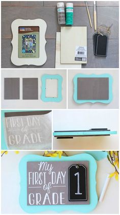 How to make a back to school photo prop, flip it over for last day of school. Such a fun and simple back to school DIY! First Day Of School Pictures, 1st Day Of School, School Daze, School Photos, Girls School, School Lunch, School Chalkboard, Chalkboard Signs, Diy Back To School