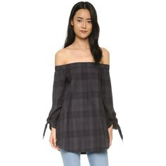 Tibi Off Shoulder Tunic ($320) ❤ liked on Polyvore featuring tops, tunics, grey multi, gray top, off shoulder tunic, long sleeve tunic, tibi and off the shoulder tunic