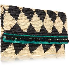 Sensi Studio Rombos woven toquilla straw clutch ($170) ❤ liked on Polyvore featuring bags, handbags, clutches, beach handbags, special occasion clutches, cell phone purse, woven straw handbags and beach purse