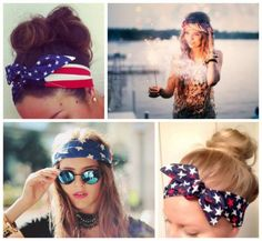 4th of July hair scarf ideas.
