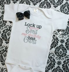Girls Bodysuit or Shirt with Bow - Baby Shower Gifts - Kids - Creeper - Military - Police - Daddy - Guns - Hunting - Army - Navy - Marines