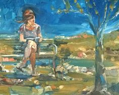 Original Painting by collected artist Samuel Burton. Woman reading under a tree