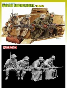 Dragon Models Winter Tank Riders for sale online Military Figures, Military Diorama, Military Art, Plastic Model Kits, Plastic Models, Tank Riders, Dragon Miniatures, Tiger Tank, Military Modelling