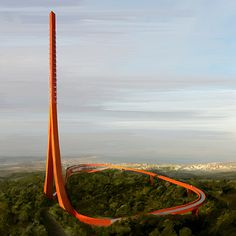 Ribbon-like design wins competition for a broadcast tower and visitor centre in Turkey
