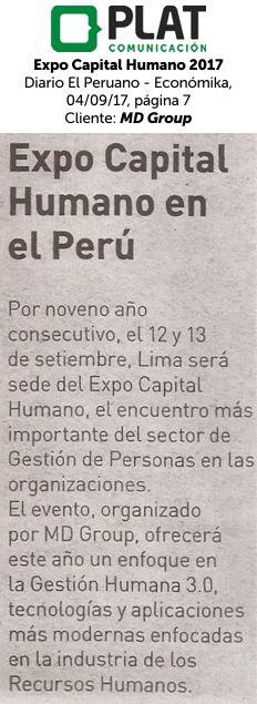 MD Group: Expo Capital Humano 2017 en el diario El Peruano- Económika de Perú (04/09/2017)