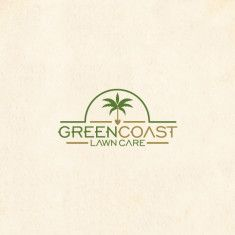 Green Coast Lawn Care Logo with palm tree