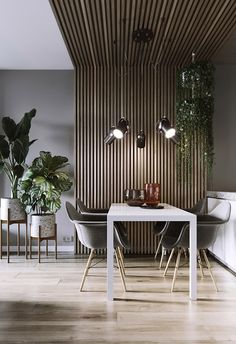 Modern home interior design inspiration, showing ways in which you can incorporate the revitalising effects of indoor plants into your decor schemes. Modern Home Interior Design, Interior Design Inspiration, Interior Architecture, Wood Slat Wall, Wood Slats, Deco Studio, Dining Room Design, Living Room Modern, House Design