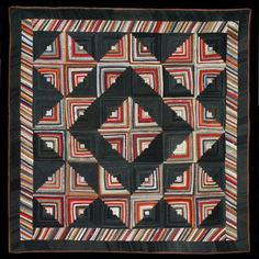 wool log cabin quilt - love the borders