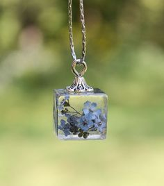 Real Forget Me Not Cube Pendant Necklace Blue by IrinasArtByNature
