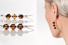 Faceted Natural Amber Baltic Earrings / Beads With by AnnaBujak