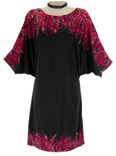 14 Large NWT SEXY Womens BLACK/FUCHSIA COLD SHOULDER DRESS Dolman Cocktail Party #dressbarn #ColdShoulder #Versatile