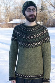 I went on a bit of an Icelandic colorwork knitting kick last year. I am now a huge fan of fair isle colorwork because it combines the ease o. Dont Call Me, Sweater Design, Knit Patterns, Kicks, Men Sweater, Knitting, Boys, Sweaters, Fiber