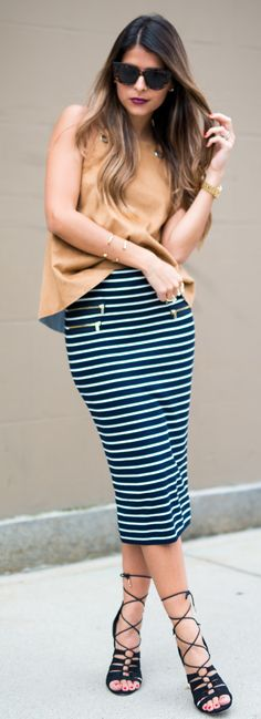 Topshop Faux Suede Top   Striped Skirt   ASOS Lace-Up Sandals