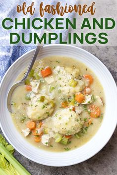 Old Fashioned Homemade Chicken and Dumplings – Just a Little Bit of Bacon Creamy comfort food from scratch! You'll love this classic recipe for old-fashioned homemade chicken and dumplings cooked on the stovetop. Creamy Chicken And Dumplings, Chicken And Dumplins, Homemade Dumplings, Dumplings For Soup, Dumpling Recipe, Old Fashioned Dumplings Recipe, Buttermilk Dumplings Recipe, Gluten Free Dumplings, Turkey And Dumplings