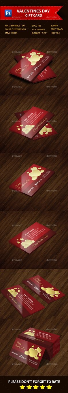 This is a Valentines Day gift card . This template download contains 300 dpi print-ready CMYK psd files. All main elements are editable and customizable.  Features: 1.Easy Customizable and Editable 2.CMYK Color 3.Design in 300 DPI Resolution 4.Print Ready Format 5.Version Used-Adobe CS6 6.3.5x2 (3.75x2.25 with bleeds   trim mark) 7.Named & organi