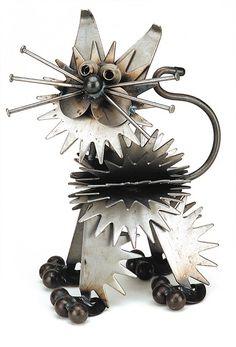 Metal Yard Art: Yardbirds Junkyard Cats -- A Fluffy Kitten