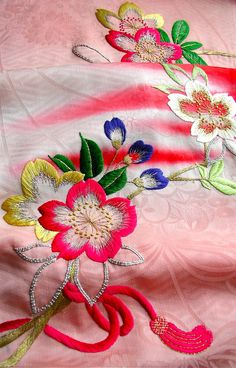 Japanese kimono fabric This is probably silk or rayon thread. Gorgeous